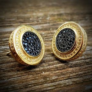 Other - Black & Gold XL Pave Simulated Diamond Earrings